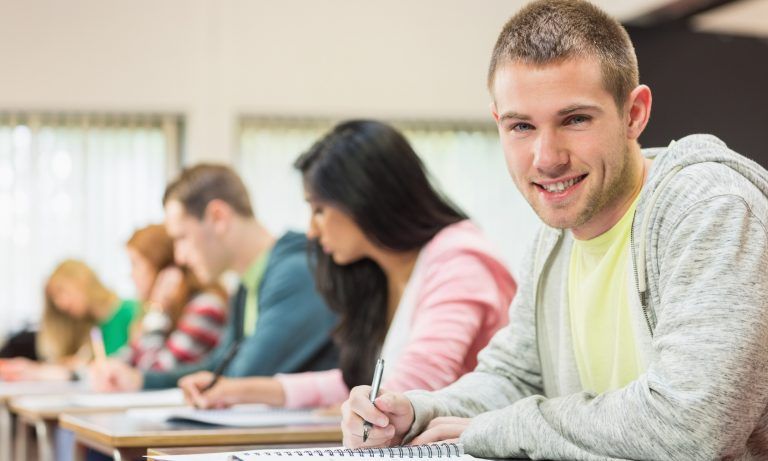 Portrait of a smiling young male student with others writing notes in the classroom